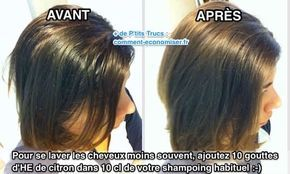 Heureusement, il existe une astuce toute simple pour se laver les cheveux moins souvent. Le truc est d'ajouter quelques gouttes d'huile essentielle de citron dans votre shampoing habituel. Regardez :-) Découvrez l'astuce ici : http://www.comment-economiser.fr/comment-faire-pour-se-laver-les-cheveux-moins-souvent.html?utm_content=buffer1624f&utm_medium=social&utm_source=pinterest.com&utm_campaign=buffer