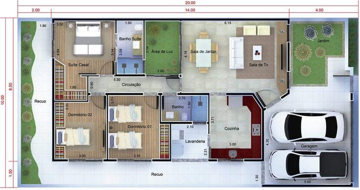 Plano de casa moderna de un piso. Plano para terreno 10x20
