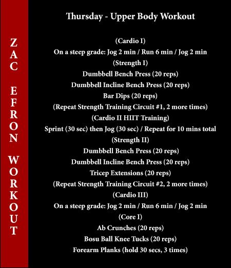 zac efron workout thursday