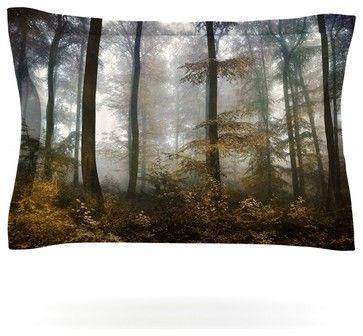 "Iris Lehnhardt ""Forest Mystics"" Brown Gray Pillow Sham (Cotton, 40"" x 20"") contemporary-pillowcases-and-shams"