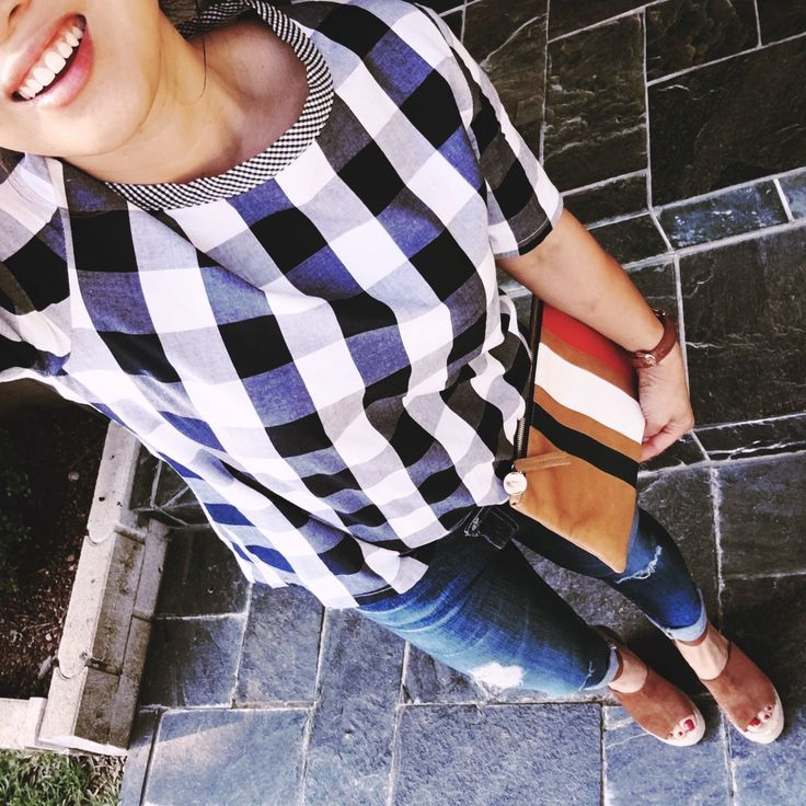 petite fashion blog | gingham print top, distressed jeans, marc fisher adalyn wedges, clare v racing stripe clutch | summer fall outfit