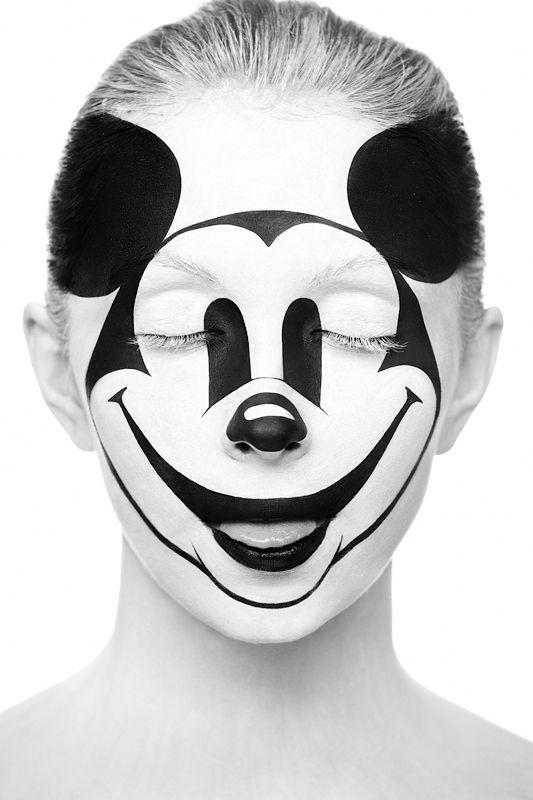 Mickey by Alexander KhokhlovAlexanderkhokhlov, Alexander Khokhlov, Mickey Mouse, Makeup, Art, Body Painting, Black White, Mickeymouse, Face Painting