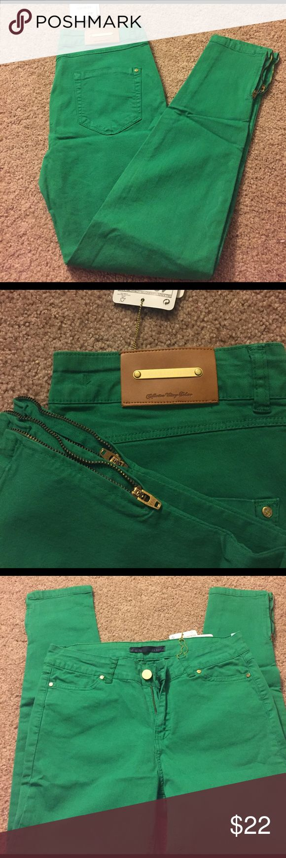 Zara Green Skinny Jeans; NWT; Sz 8 Brand new green skinny jeans with zippers at the bottom. Cute Zara logo on the back, 4 pockets, and zip-fly. Waist is 29 inches, inseam is 27 inches. Zara Jeans Skinny