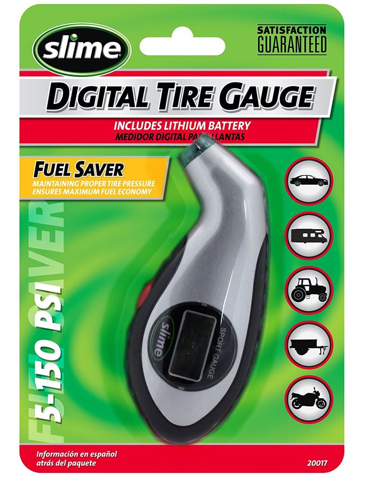 The Slime 5-150 PSI Digital Tire Gauge with Lighted Tip allows you to maintain the proper pressure in your vehicle's tires, minimizing tread wear, increasing gas mileage and improving handling. This digital gauge has an easy to read LED display, an automatic shut off, a reset button, and low to high PSI, KPA and BAR. Special features include an ergonomic rubberized grip and front and back lights for nighttime use.