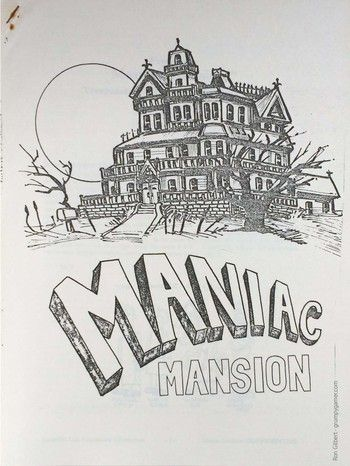The design document for a game called maniac Mansion