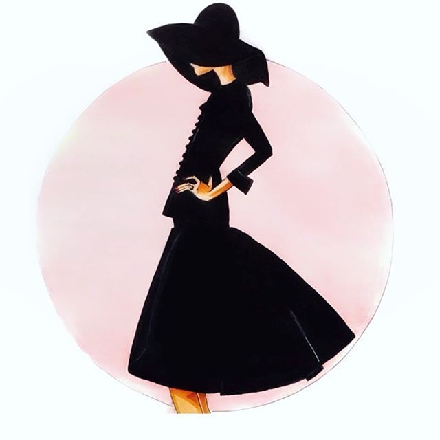 """""""One is never over dressed or under dressed in a little black dress."""" Karl Lagerfeld #littleblackdress #lbd #karllagerfeld #blackhat. One of my sketches that I'm fond of!"""