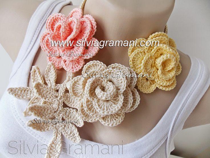 Silvia Gramani Crochê: Colar de Rosas