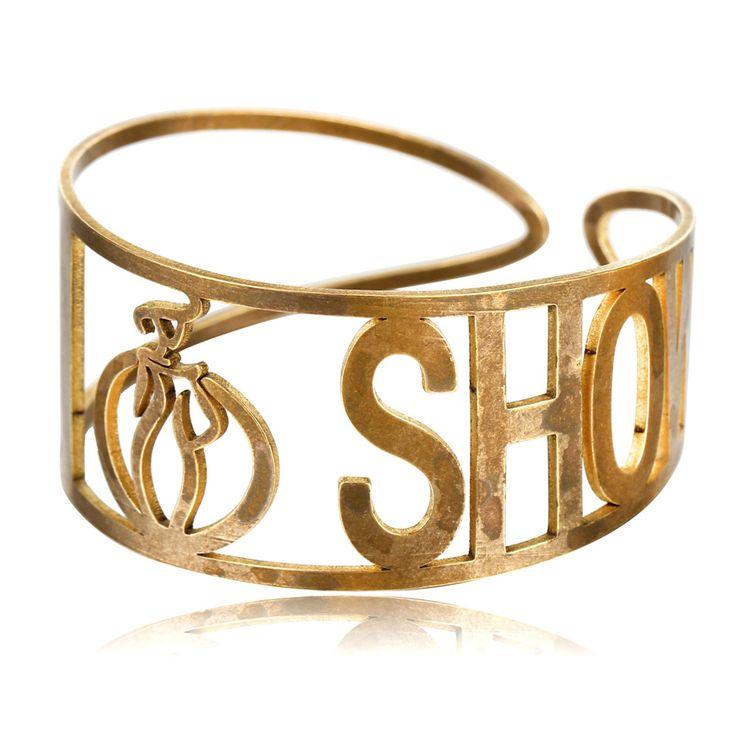 """ I SHOW "" Copper Bracelet Cuff Bangles For Woman Antique Gold Plated Open Bracelet Adjustable Punk Cuff Bracelets & Bangles"