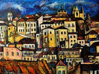 Acrylic painting portrayed a Lisbon city Bairro Alto view in beautiful autumn time. A symphony of the light, colours and...