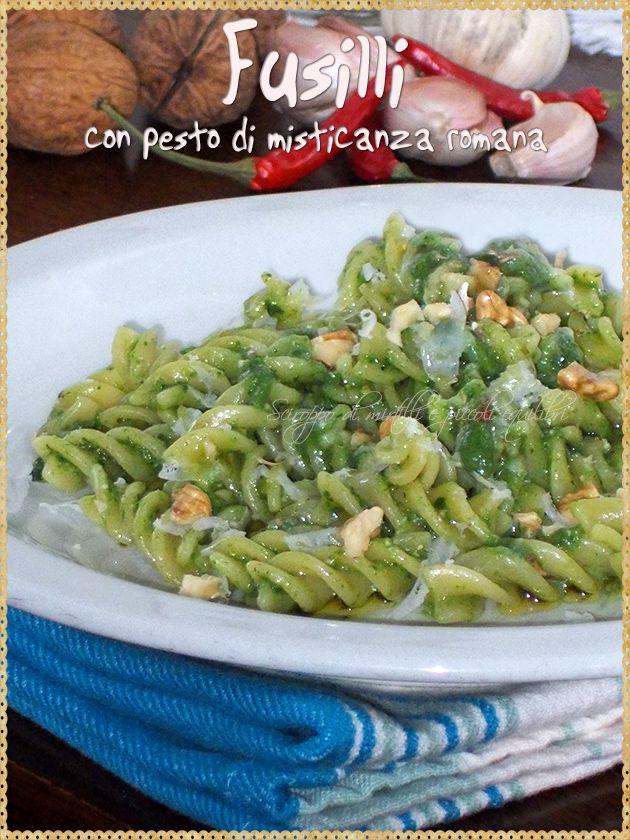 Fusilli con pesto di misticanza romana (Fusilli  with pesto misticanza. Misticanza  in Lazio to a collection of wild plants  of the Lazio countryside: chicory, borage, crespigno and other)