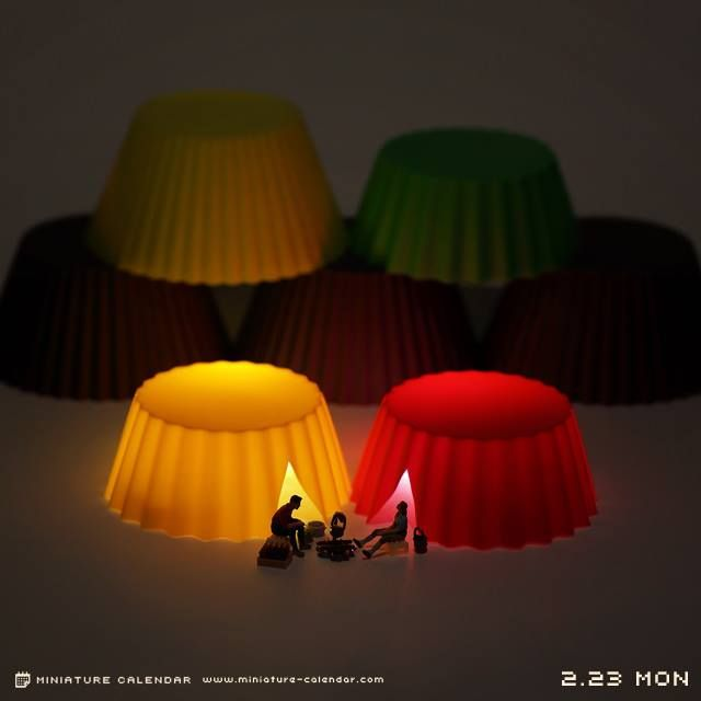 Little people camping with cupcake holders. (re) Pinned by Storyplanter