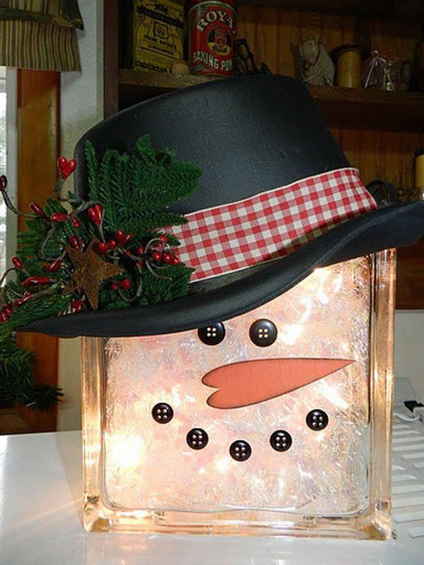 glass block snowman, Cool Snowman Crafts for Christmas, http://hative.com/cool-snowman-crafts-for-christmas/,