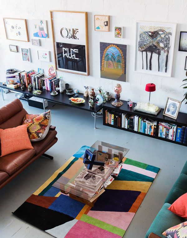 Eclectic, kooky, apartment filled with knick knacks and collectibles.