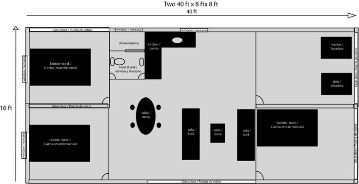 Three Bedroom, One Bath Shipping Container Home Floor Plan