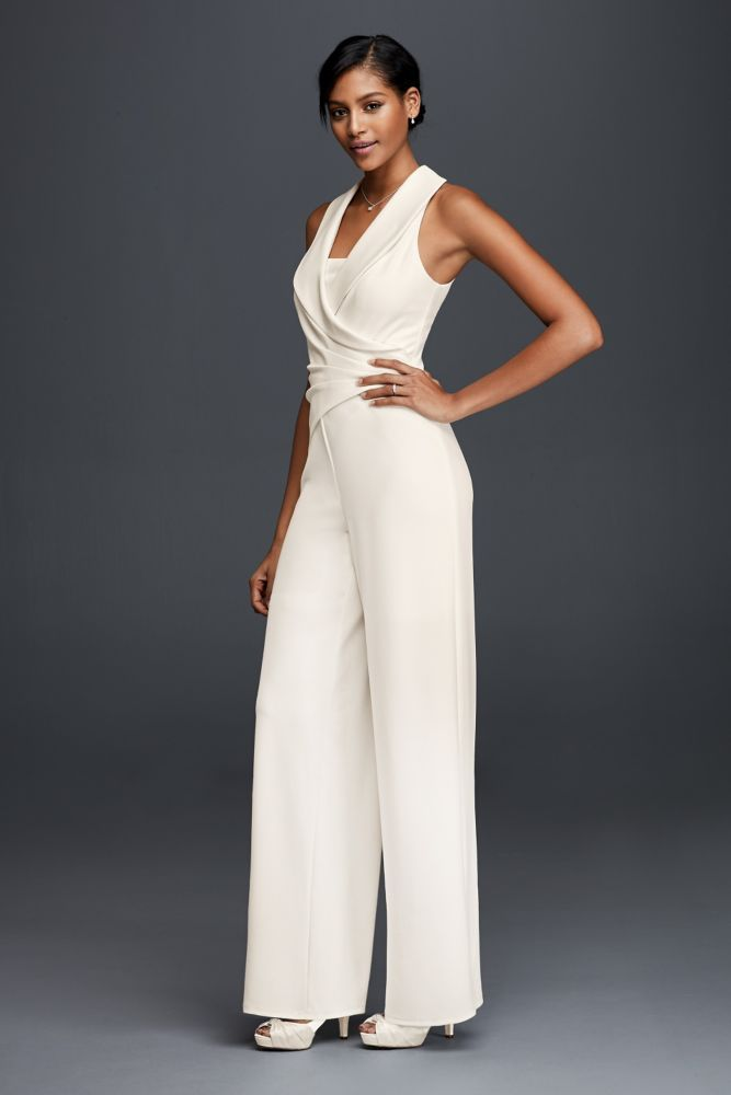 Crepe Wedding Dress Tuxedo Lapel Bridal Jumpsuit - Ivory, 8