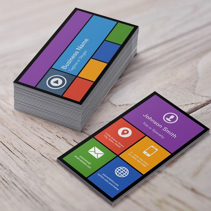 Flat Metro Style Design Modern Colors Tiles Business Card You