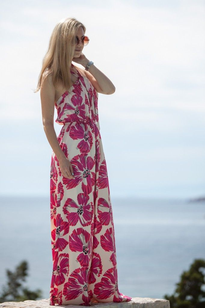 maxi floral dress, summer, pink and black