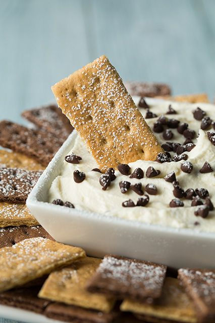 Cannoli Dip: 5 ingredients: 15 oz ricotta cheese (strained), 8 oz Mascarpone cheese. 2/3 cup powdered sugar, 1 cup heavy cream, 1/2 cup mini semi-sweet chocolate chips. Serve with regular and chocolate graham crackers. Oh, yes, this will definitely be happening.