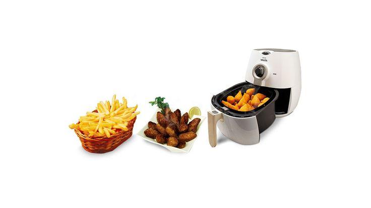 Só com a Original Airfryer Philips Walita você irá saborear porções de batata frita, frango a passarinho, polenta e até churros, saborosos como frito