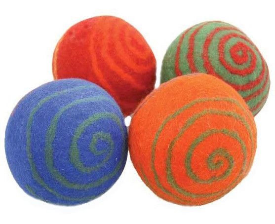 A natural wool felted ball for baby, perfect for rolling around and playing games! Made from 100% sheeps wool, these balls are naturally anti-bacterial and odorless, meaning the ball will clean itself!! Childhood development experts extol the benefits of ball play for kids of all ages. During baby's first year, balls will help your baby master visual and physical coordination and teach him about cause and effect.  Price is per Ball. with your choice of four colours.