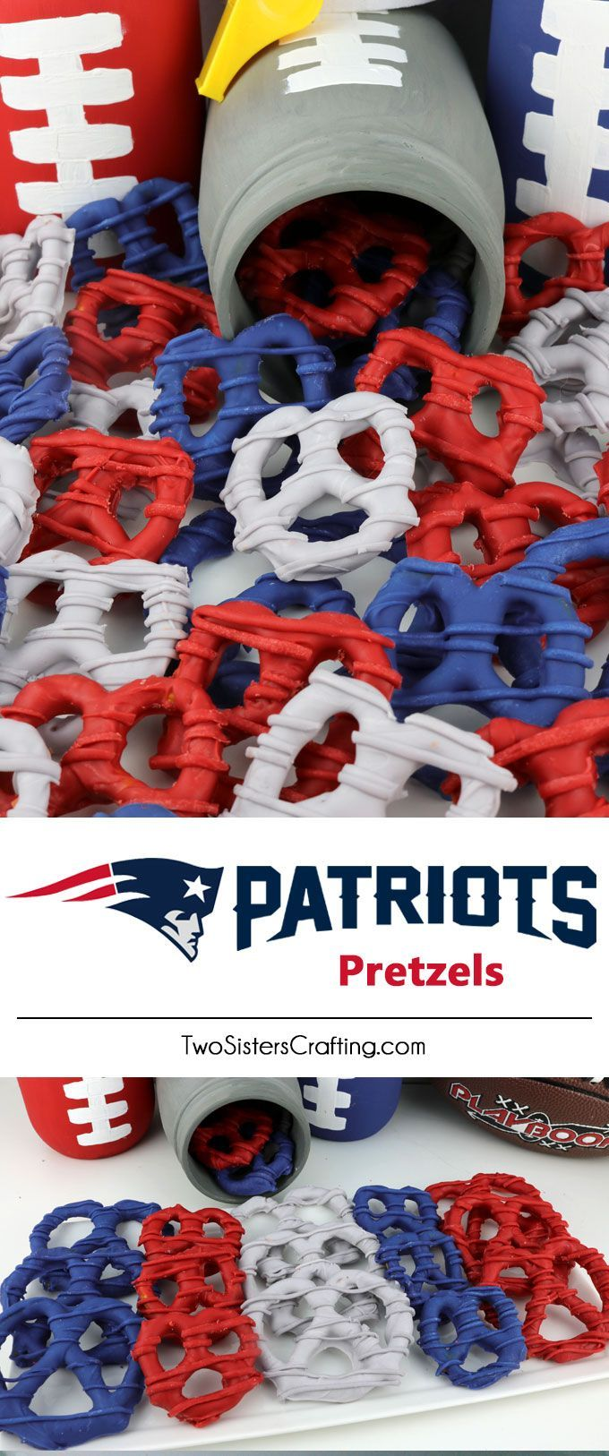 New England Patriots Pretzels - yummy bites of sweet and salty Football Game Day goodness that are super easy to make. They are perfect as a little extra treat at a NFL playoff party, a Super Bowl party or as a special dessert for the New England Patriots fan in your life. Follow us for more fun Super Bowl Food Ideas.