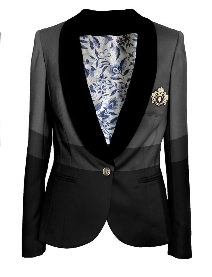 Black grey tailored womens blazer jacket. £395.00, via Etsy.