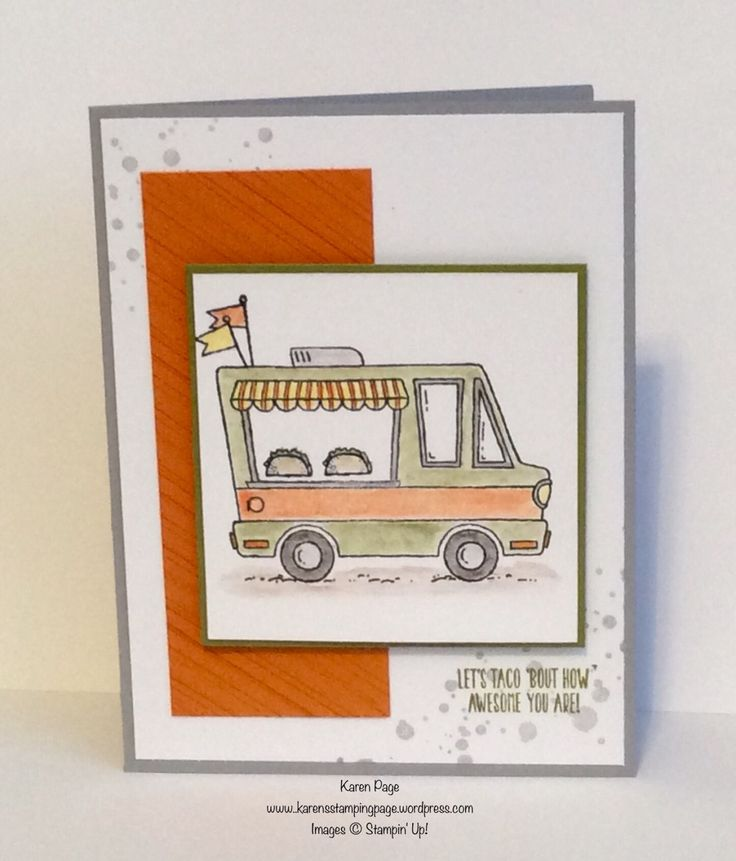 Love this Tasty Truck stamp set in the 2017 Stampin' Up! Sale-A-Bration catalog.  Also used the new Watercolor Pencils in the 2017 Occasions Catalog.