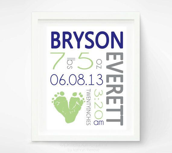Navy and Green Nursery Baby Boy Birth Announcement Wall Art - Baby Footprint Art Nursery Decor - Personalized New Baby Gift -  New Baby Gift...