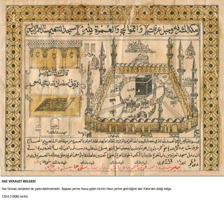 Kaaba- Kabe-Ottoman Certificate for Hajj (Pilgrimage) 1908