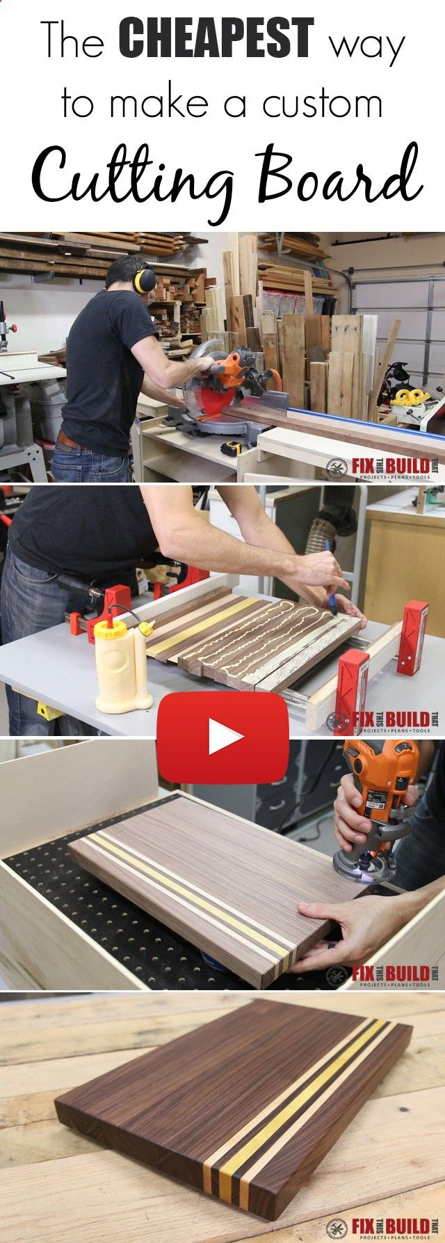 Learn how to make a custom cutting board with scrap offcuts and leftover wood! Full video tutorial.