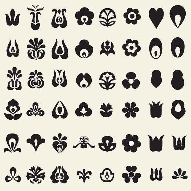 مجموعة من عناصر مجموعة شعبية القوم الفن مجردة تصميم زخرفة هندسية Png والمتجهات للتحميل مجانا Folk Elements Vector Free