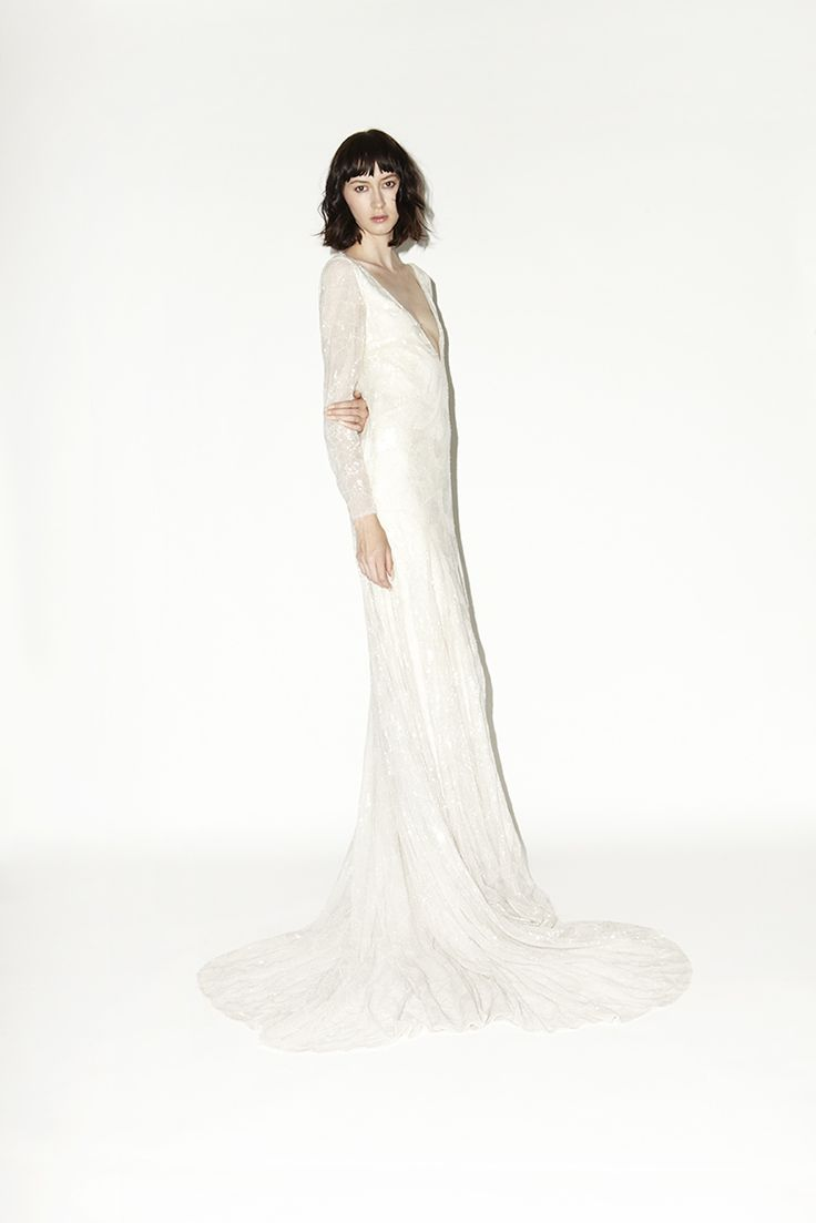 HOUGHTON Tatianne long sleeve gown with ivory hand embroidered sequins and beads