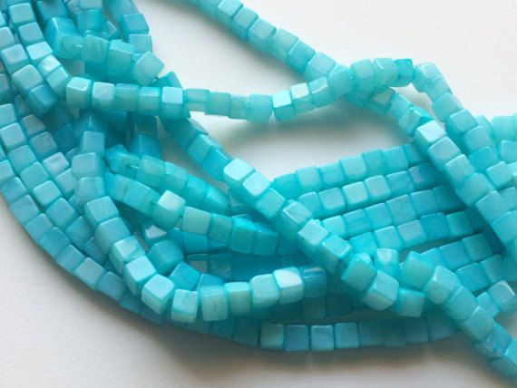 Aqua Blue Opal Plain Cube Beads Blue Opal Box by gemsforjewels