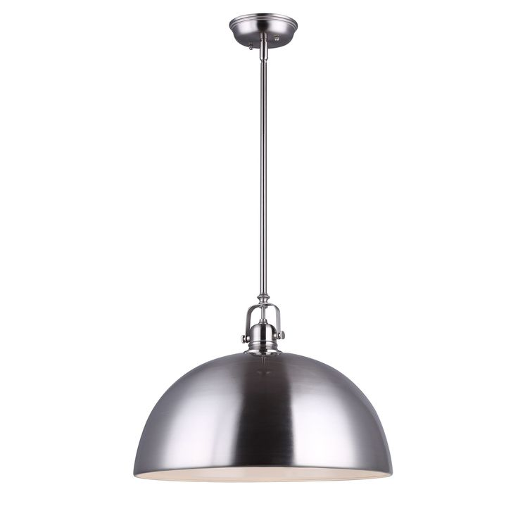 Canarm IPL222B01BN16 Polo Kitchen And Bar Large Pendant Light Fixture Brushed Nickel Shade