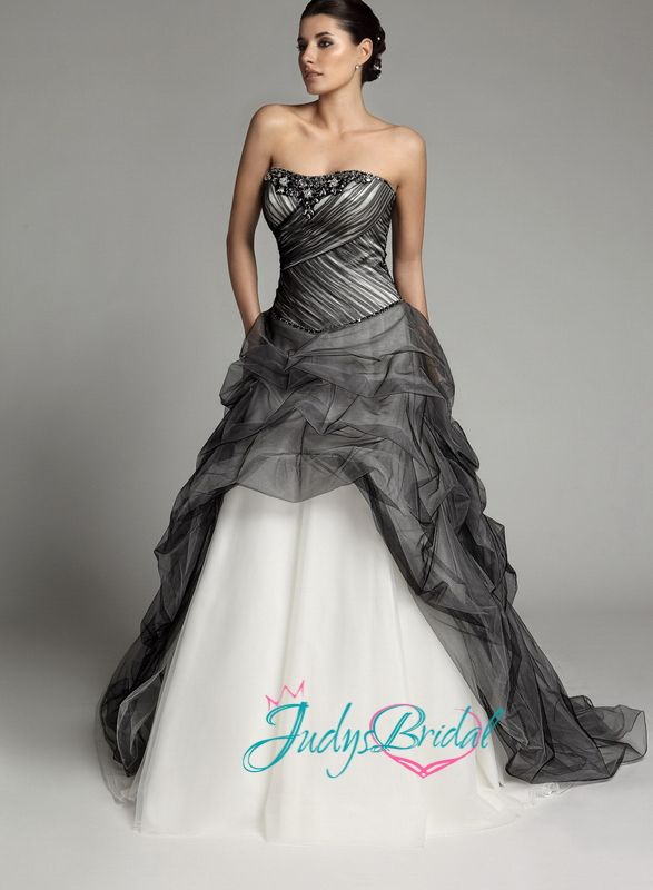 White gothic wedding dresses jw13259 gothic black and for Unique black and white wedding dresses