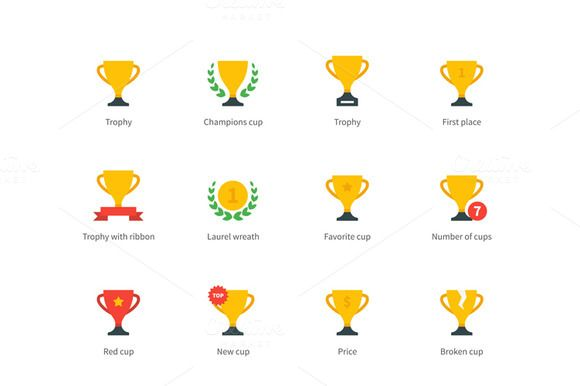 Check out Trophy and awards colored icons by Brothers Good on Creative Market