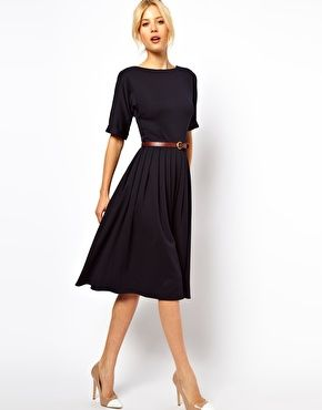 £42 ASOS Midi Dress With Full Skirt And Belt