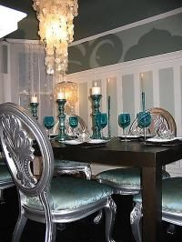Gorgeous Aqua And Silver Dining Room With Capiz Shell Chandelier Designer David Bromstad Of Color Splash Chairs Painted Table