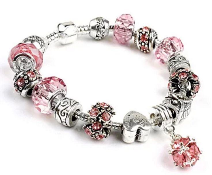 Stunning European Pink Crystal Charm Bracelet