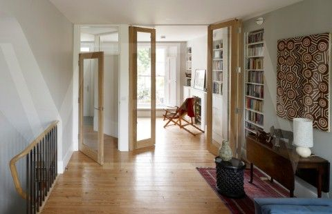 Example of how opened up space can be dealt with using glass interior doors