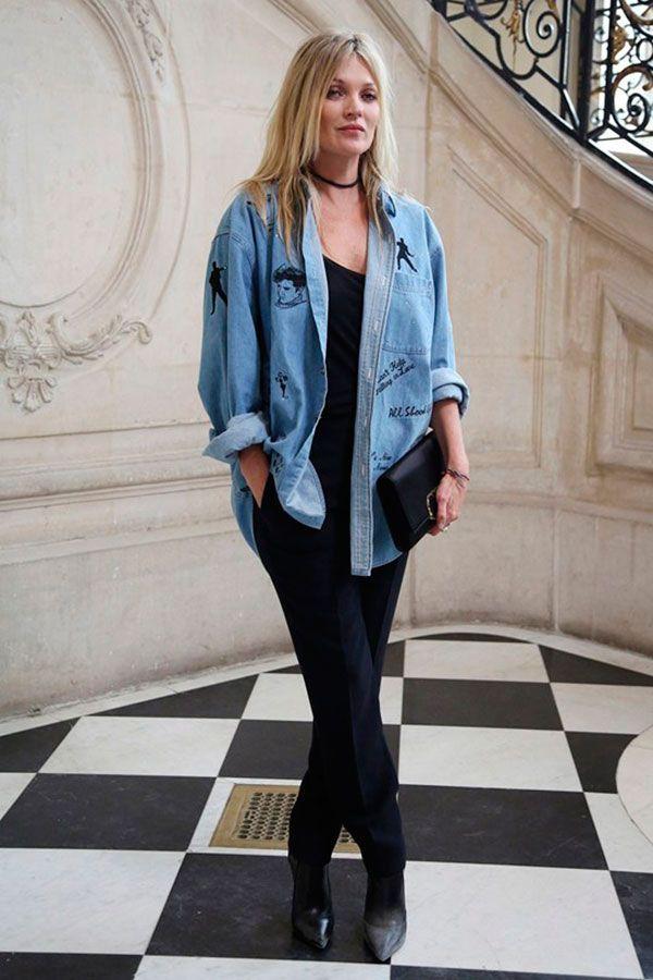 Kate Moss  Bordar frases e rostos (personagens) que amo em uma peça de roupa - calça ou jaqueta