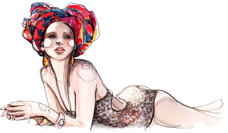 An illustration of an image from Alejandra Alonso by Mariano Vivanco for Vogue Russia May 2011 Loved this editorial... the turbans are perfect with the swimwear! So exotic. Bringin the glitter back...