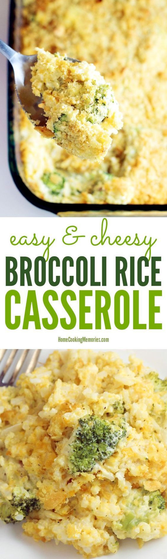 Easy & Cheesy Broccoli Rice Casserole recipe - this side dish recipe is filling, great for potlucks, & total comfort food. Everyone loves the cheesy, chicken cracker topping! Add chicken for a main dish.