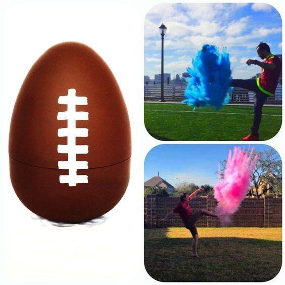 Gender Reveal Football  Each football is hand made at our house specific for your order.   We fill our footballs to the brim with powder to ensure the brightest most colorful cloud to reveal your boy or girl. Our footballs are filled 3 time higher to allow them to give the biggest poof!  The Practi