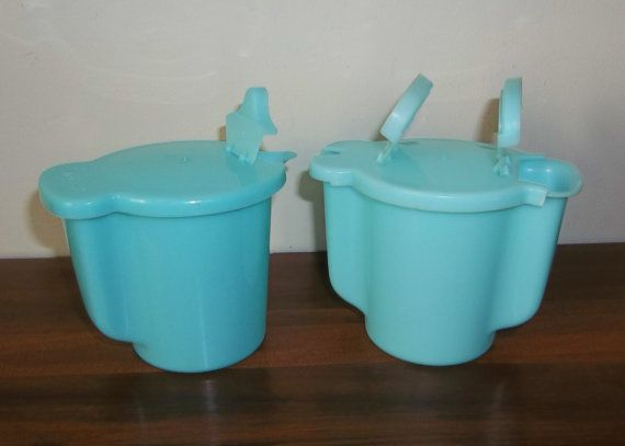 Vintage Tupperware Pastel Aqua Blue Creamer. Still have my Mom's yellow set !! Love  you Mom .. Still picture you using these for your coffee & my Tea ! Miss you soooo much sweet adorable Mom!!❤️