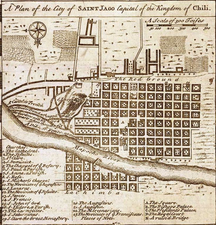 """Plano de la ciudad de """"Saint Jago"""" (Santiago), en un recuadro del mapa de Chile elaborado por el cartógrafo Emmanuel Bowen, publicado en ..."""