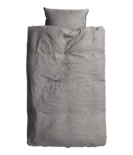 Påslakanset i tvättat linne | Ljusgrå | Home | H&M SE