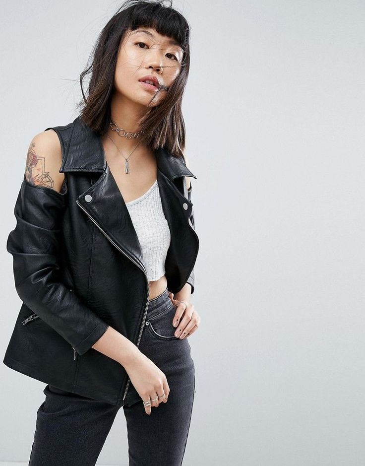 Buy it now. ASOS Faux Leather Biker Jacket with Cold Shoulder - Black. Leather jacket by ASOS Collection, Faux leather, Point collar, Cold-shoulder style, Asymmetric zip fastening, Functional pockets, Regular fit - true to size, Machine wash, 100% Viscose, Our model wears a UK 8/EU 36/US 4. Score a wardrobe win no matter the dress code with our ASOS Collection own-label collection. From polished prom to the after party, our London-based design team scour the globe to nail your new-season…