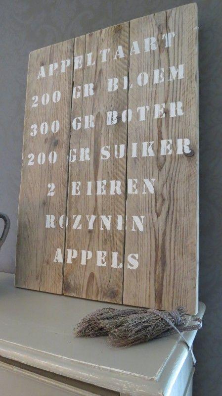 Steigerhouten bord met appeltaart recept