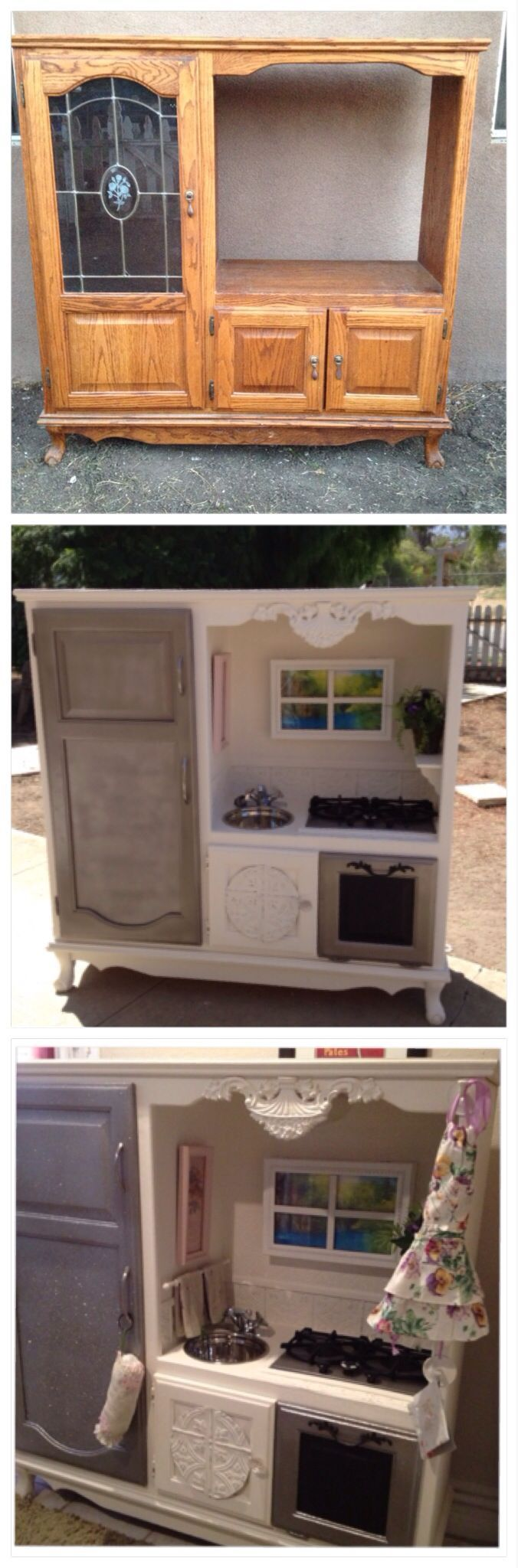Entertainment center play kitchen we made for our granddaughter ...